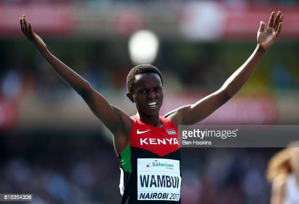 Jackline Wambui of Kenya celebrates winning the Girls 800m during day five of the IAAF U18 World Championships at the Kasarani Stadium on July 16...
