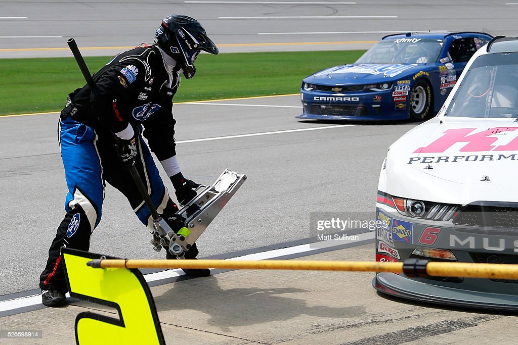 Jackman Mike Russell in action as Darrell Wallace Jr, driver of the #6 Kleen Perfomance Ford, pits during the NASCAR XFINITY Series Sparks Energy 300 at Talladega Superspeedway on April 30, 2016 in Talladega, Alabama.