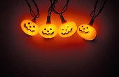 Jack-o-lantern light decorations, close-up