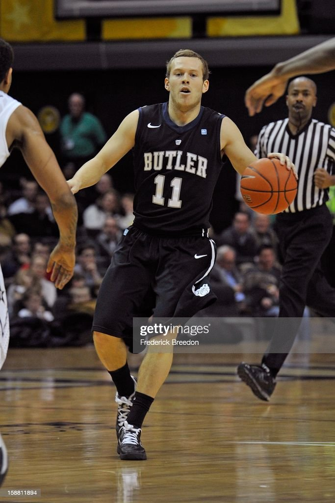 Jackson Aldridge #11 of the Butler Bulldogs plays against the Vanderbilt Commodores at Memorial Gym on December 29, 2012 in Nashville, Tennessee.