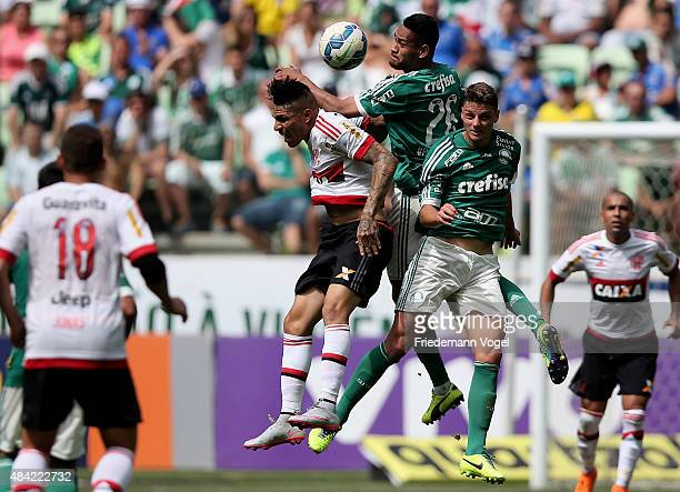 Jackson and Andrei of Palmeiras fights for the ball with Guerrero of Flamengo during the match between Palmeiras and Flamengo for the Brazilian...