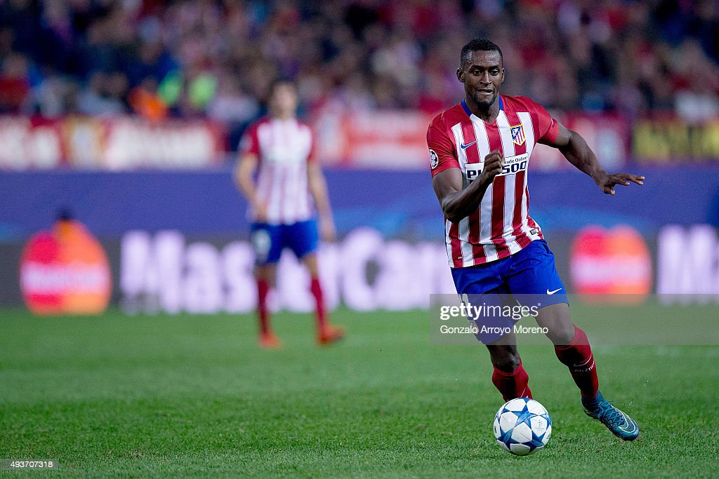 Jackson Arley Martinez of Atletico de Madrid controls the ball during the UEFA Champions League Group C match between Club Atletico de Madrid and FC Astana at Vicente Calderon stadium on October 21, 2015 in Madrid, Spain.