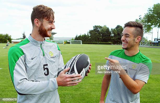 Jackson Bandiera and Jonathan Vakirtzis pose during an Australia training session at Bio Bio University sports ground during the FIFA U17 World Cup...