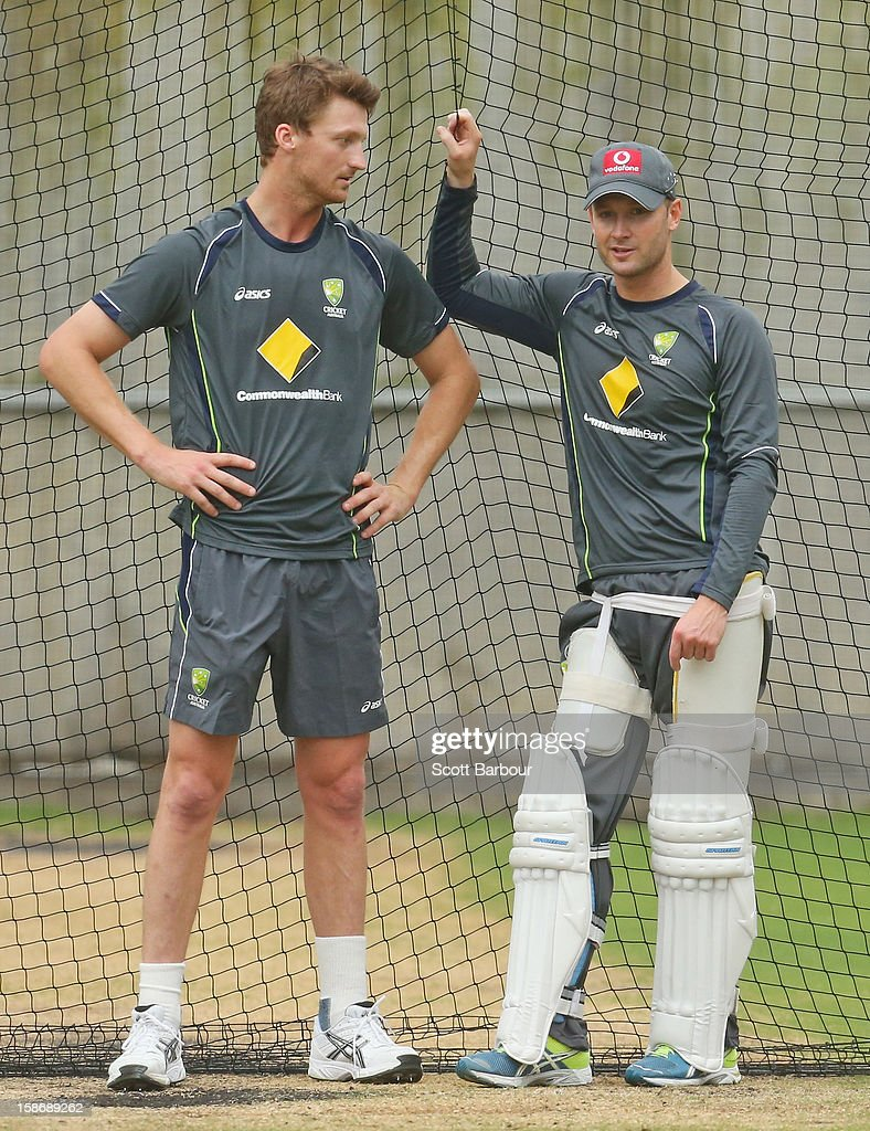 Jackson Bird and Michael Clarke of Australia look on during an Australian training session at the Melbourne Cricket Ground on December 24, 2012 in Melbourne, Australia.