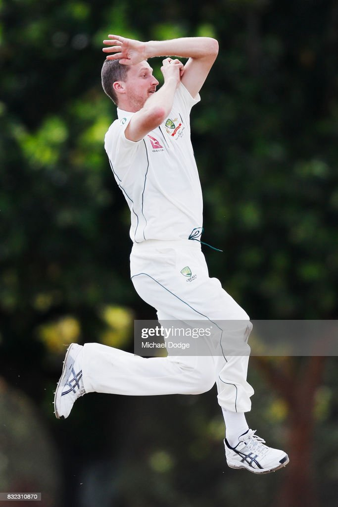 Jackson Bird bowls during day three of the Australian Test cricket inter-squad match at Marrara Cricket Ground on August 16, 2017 in Darwin, Australia.
