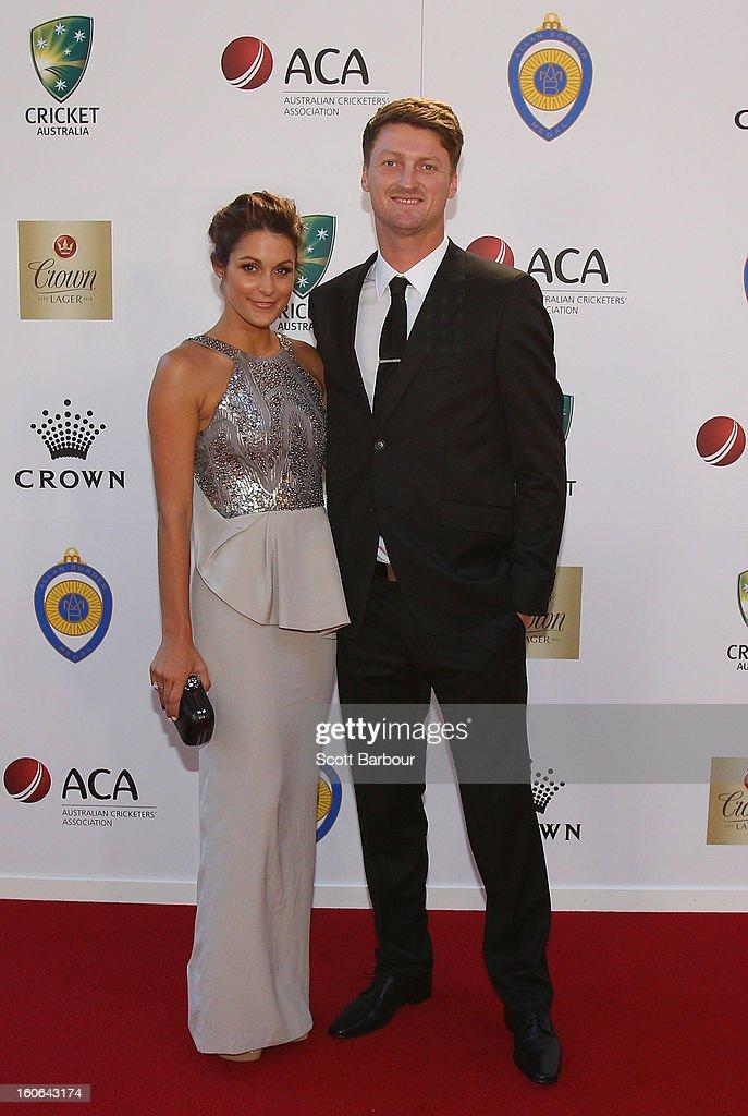 Jackson Bird of Australia and his partner Laura Ellis arrive at the 2013 Allan Border Medal awards ceremony at Crown Palladium on February 4, 2013 in Melbourne, Australia.