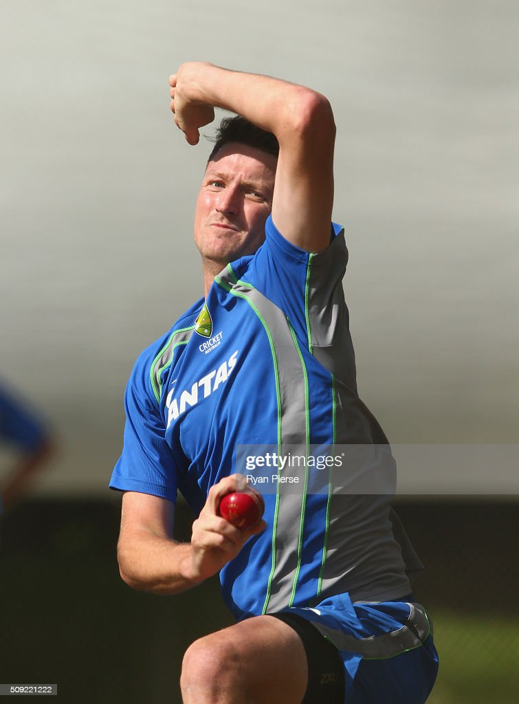 <a gi-track='captionPersonalityLinkClicked' href=/galleries/search?phrase=Jackson+Bird&family=editorial&specificpeople=8665256 ng-click='$event.stopPropagation()'>Jackson Bird</a> of Australia bowls during an Australian nets session at Basin Reserve on February 11, 2016 in Wellington, New Zealand.