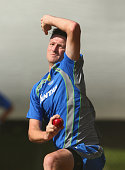 Jackson Bird of Australia bowls during an Australian nets session at Basin Reserve on February 11 2016 in Wellington New Zealand