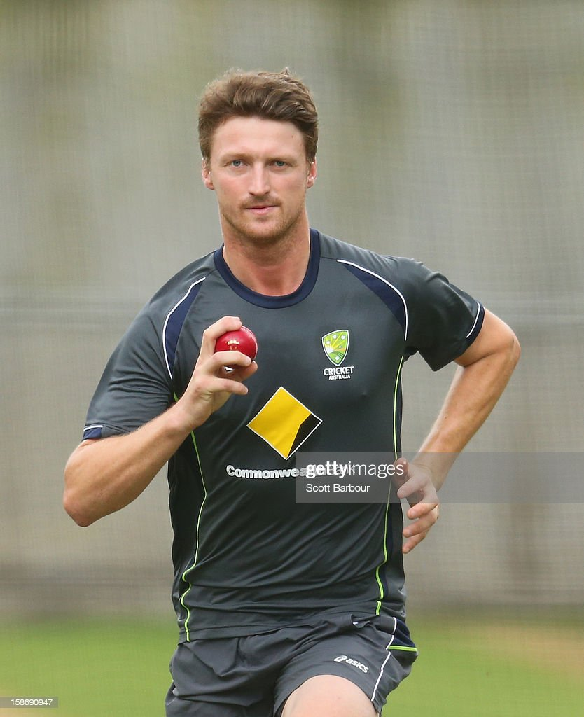 Jackson Bird of Australia bowls during an Australian training session at the Melbourne Cricket Ground on December 24, 2012 in Melbourne, Australia.