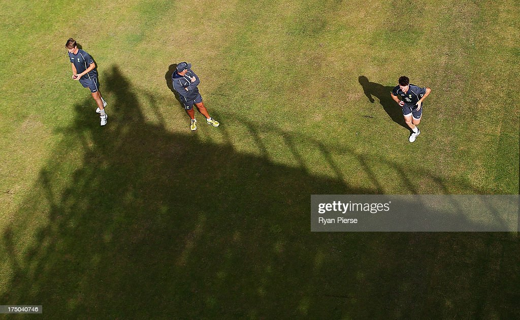Jackson Bird of Australia bowls in the nets during an Australian Nets Session at Old Trafford on July 30 2013 in Manchester England