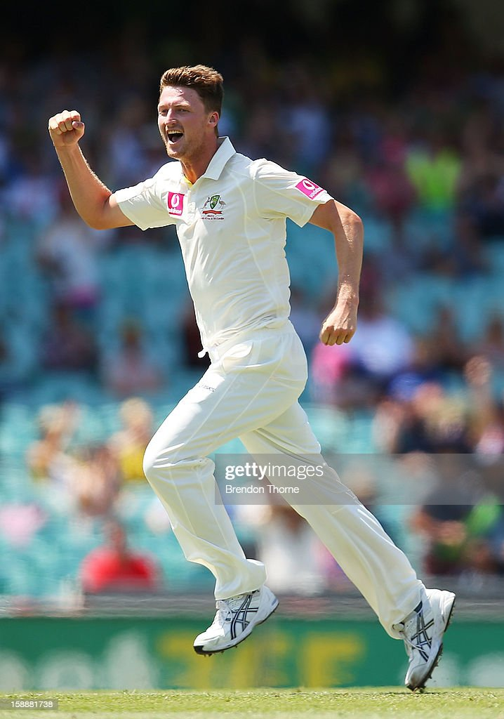 Jackson Bird of Australia celebrates after claiming the wicket of Dimuth Karunaratne of Sri Lanka during day one of the Third Test match between...