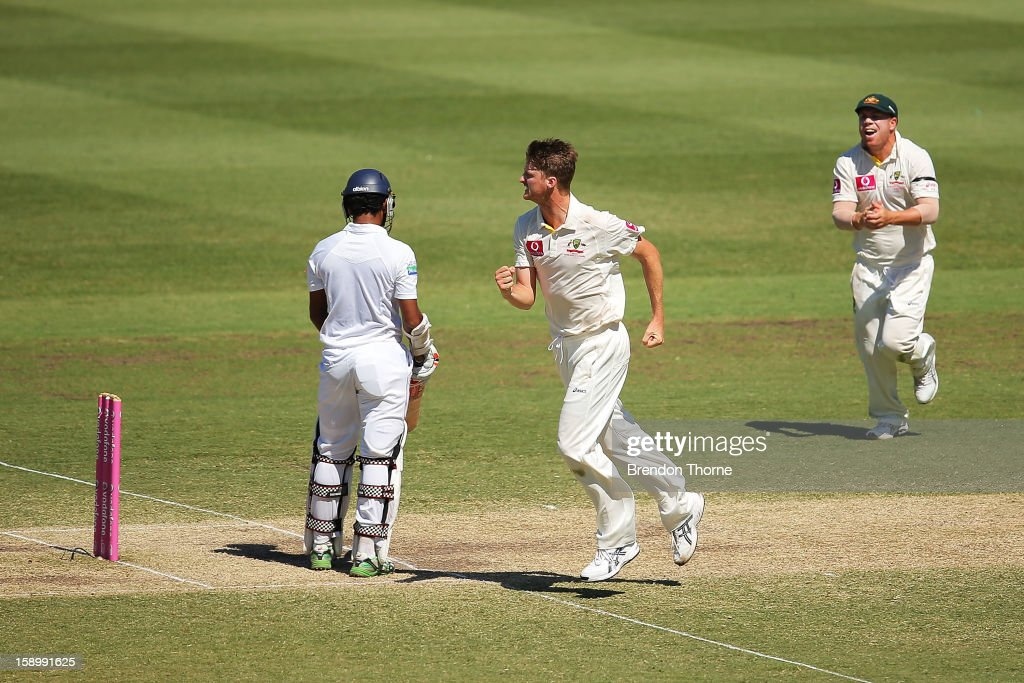 Jackson Bird of Australia celebrates after claiming the wicket of Dimuth Karunaratne of Sri Lanka during day three of the Third Test match between Australia and Sri Lanka at the Sydney Cricket Ground on January 5, 2013 in Sydney, Australia.