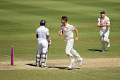 Jackson Bird of Australia celebrates after claiming the wicket of Dimuth Karunaratne of Sri Lanka during day three of the Third Test match between...