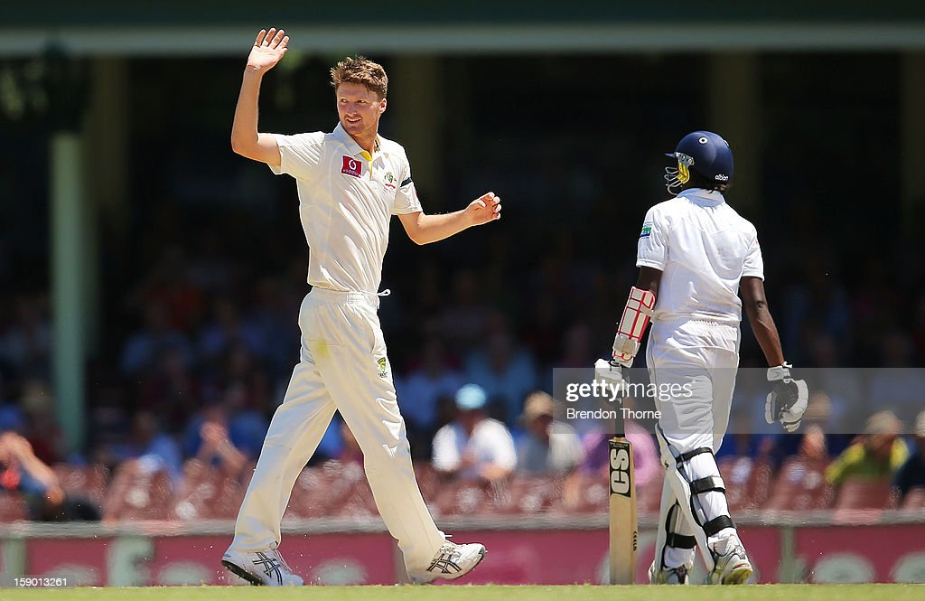Jackson Bird of Australia celebrates after claiming the wicket of Nuwan Pradeep of Sri Lanka during day four of the Third Test match between Australia and Sri Lanka at the Sydney Cricket Ground on January 6, 2013 in Sydney, Australia.