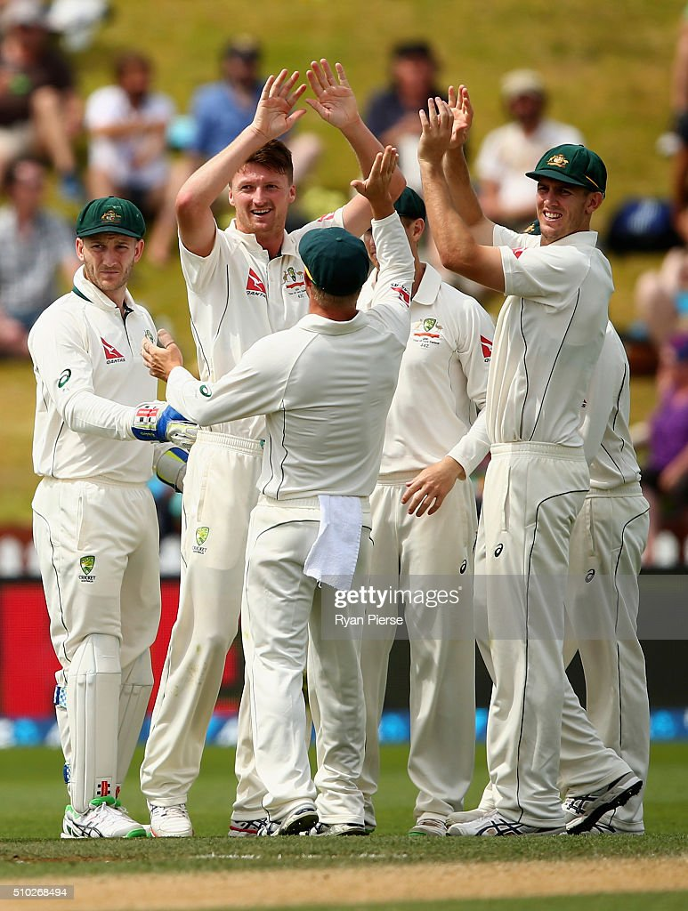<a gi-track='captionPersonalityLinkClicked' href=/galleries/search?phrase=Jackson+Bird&family=editorial&specificpeople=8665256 ng-click='$event.stopPropagation()'>Jackson Bird</a> of Australia celebrates after taking the wicket of Henry Nicholls of New Zealand during day four of the Test match between New Zealand and Australia at Basin Reserve on February 15, 2016 in Wellington, New Zealand.
