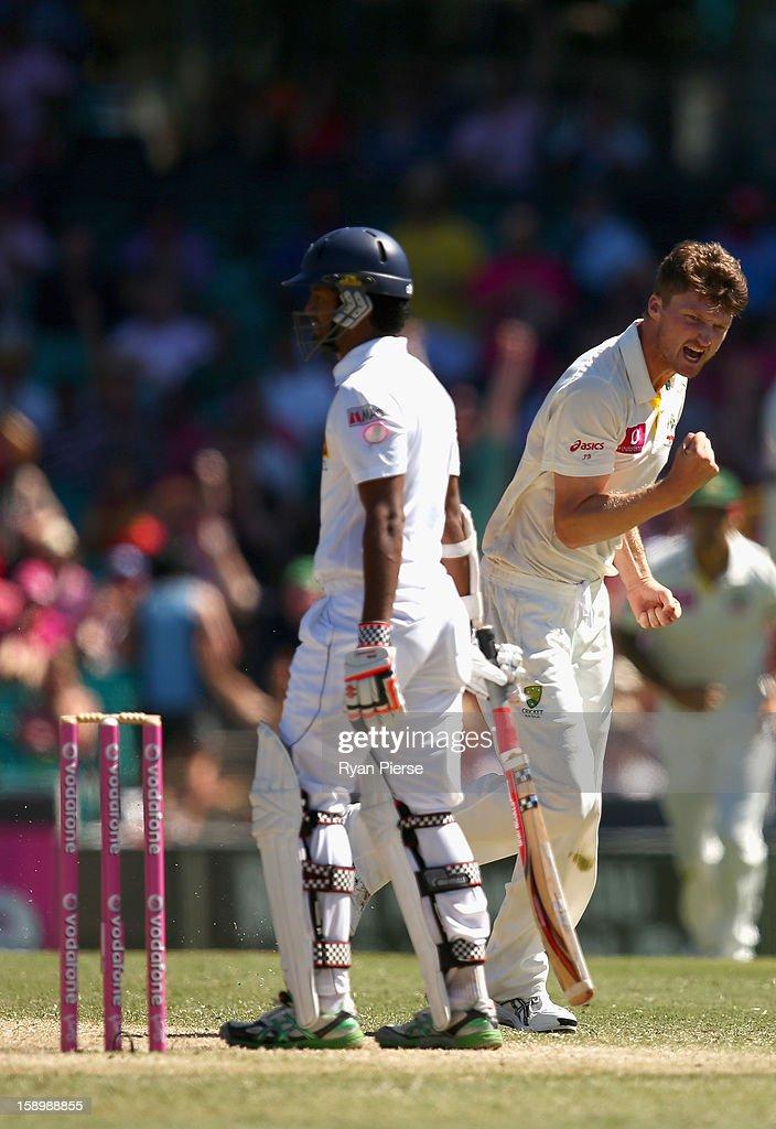 Jackson Bird of Australia celebrates after taking the wicket of Dimuth Karunaratne of Sri Lanka during day three of the Third Test match between Australia and Sri Lanka at Sydney Cricket Ground on January 5, 2013 in Sydney, Australia.