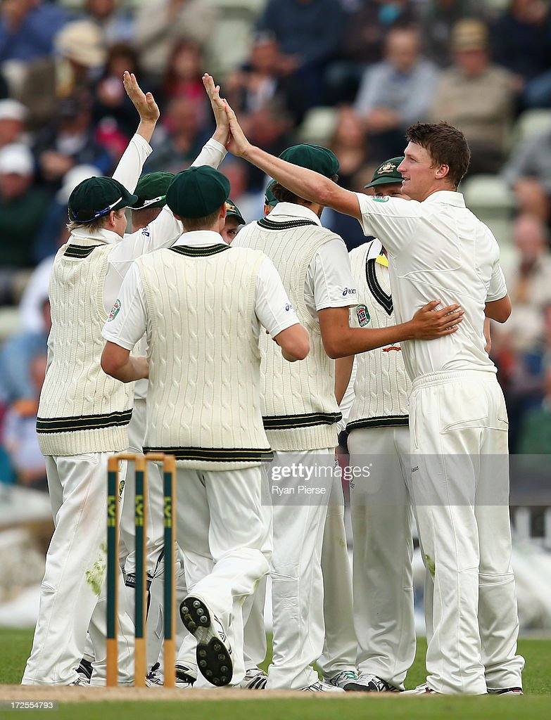 <a gi-track='captionPersonalityLinkClicked' href=/galleries/search?phrase=Jackson+Bird&family=editorial&specificpeople=8665256 ng-click='$event.stopPropagation()'>Jackson Bird</a> of Australia celebrates after taking the wicket of Alexei Kervezee of Worcestershire during day two of the Tour Match between Worcestershire and Australia at New Road at New Road on July 3, 2013 in Worcester, England.