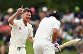 Jackson Bird of Australia celebrates after taking the wicket of Tim Southee of New Zealand during day four of the Test match between New Zealand and...