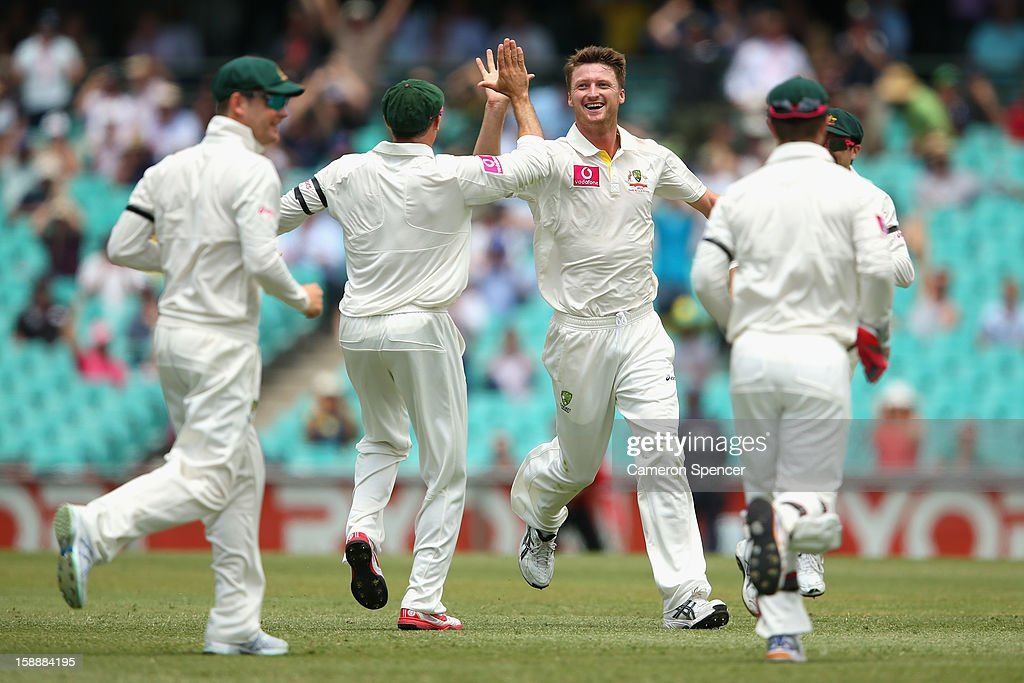 Jackson Bird of Australia celebrates dismissing Lahiru Thirimanne of Sri Lanka prior to the decision being overturned by the third umpire during day one of the Third Test match between Australia and Sri Lanka at the Sydney Cricket Ground on January 3, 2013 in Sydney, Australia.