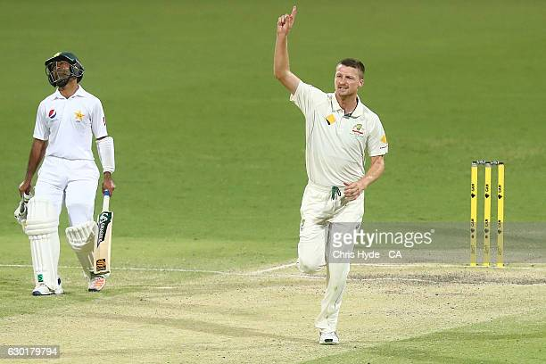 Jackson Bird of Australia celebrates dismissing Muhammad Amir of Pakistan during day four of the First Test match between Australia and Pakistan at...