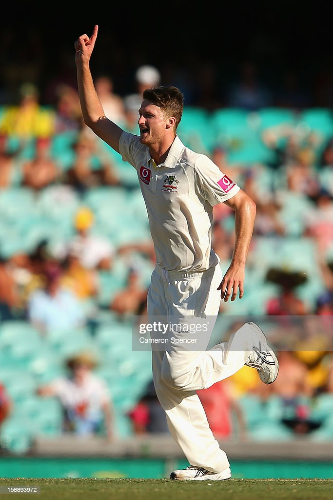 Jackson Bird of Australia celebrates dismissing Suranga Lakmal of Sri Lanka during day one of the Third Test match between Australia and Sri Lanka at the Sydney Cricket Ground on January 3, 2013 in Sydney, Australia.