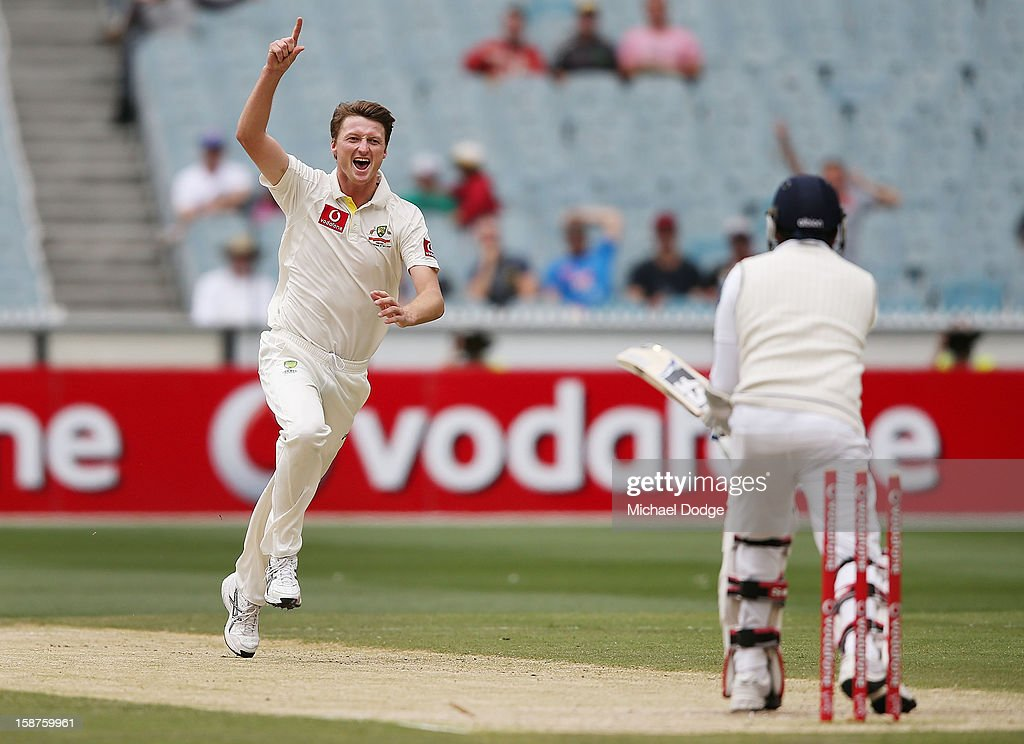Jackson Bird of Australia celebrates his dismissal of Mahela Jayawardene of Sri Lanka during day three of the Second Test match between Australia and Sri Lanka at Melbourne Cricket Ground on December 28, 2012 in Melbourne, Australia.