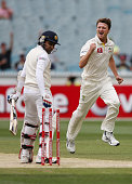 Jackson Bird of Australia celebrates his dismissal of Mahela Jayawardene of Sri Lanka during day three of the Second Test match between Australia and...