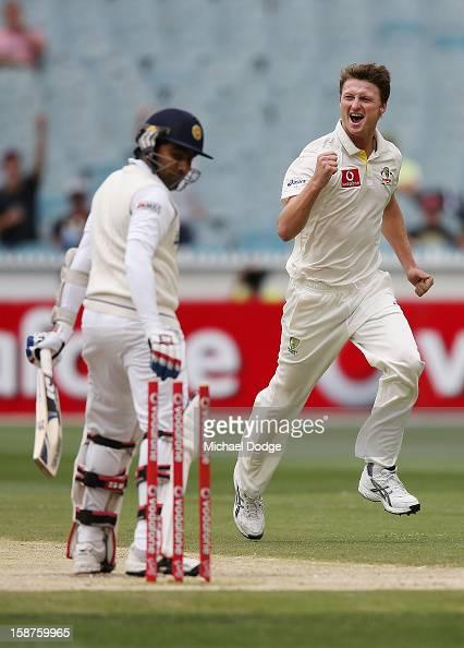 Jackson Bird of Australia celebrates his dismissal of Mahela Jayawardene of Sri Lanka during day three of the Second Test match between Australia and...