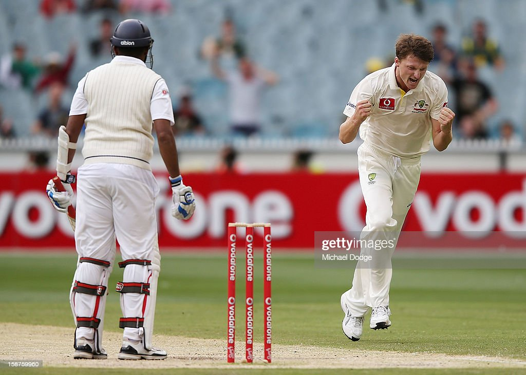 Jackson Bird of Australia celebrates his dismissal of Thilan Samaraweera of Sri Lanka during day three of the Second Test match between Australia and Sri Lanka at Melbourne Cricket Ground on December 28, 2012 in Melbourne, Australia.