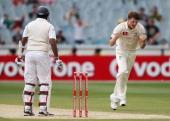 Jackson Bird of Australia celebrates his dismissal of Thilan Samaraweera of Sri Lanka during day three of the Second Test match between Australia and...