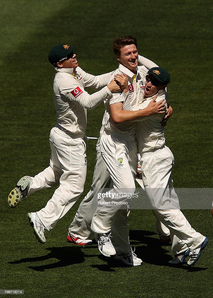 Jackson Bird of Australia celebrates taking the wicket of Dimuth Karunaratne of Sri Lanka during day one of the Second Test match between Australia and Sri Lanka at Melbourne Cricket Ground on December 26, 2012 in Melbourne, Australia.