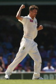 Jackson Bird of Australia celebrates taking the wicket of Dimuth Karunaratne of Sri Lanka during day three of the Third Test match between Australia...