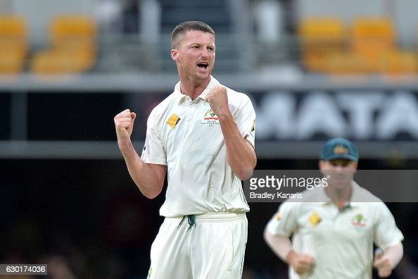 Jackson Bird of Australia celebrates taking the wicket of MisbahulHaq of Pakistan during day four of the First Test match between Australia and...