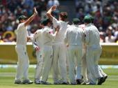 Jackson Bird of Australia celebrates taking the wicket of Thilan Samaraweera of Sri Lanka during day one of the Second Test match between Australia...