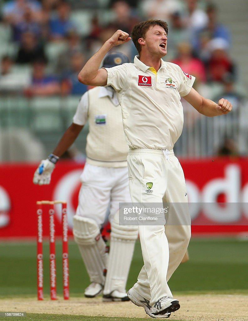 Jackson Bird of Australia celebrates taking the wicket of Thilan Samaraweera of Sri Lanka during day three of the Second Test match between Australia...