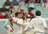 Jackson Bird of Australia celebrates taking the wicket of Thilan Samaraweera of Sri Lanka during day three of the Second Test match between Australia...