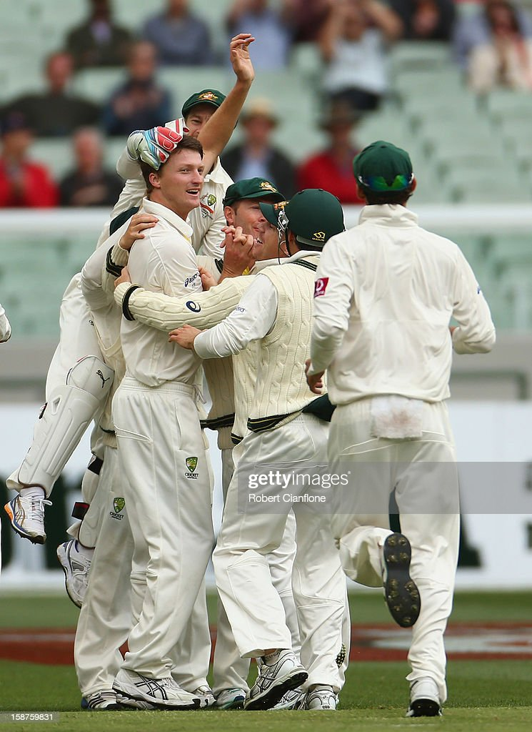 Jackson Bird of Australia celebrates taking the wicket of Thilan Samaraweera of Sri Lanka during day three of the Second Test match between Australia and Sri Lanka at Melbourne Cricket Ground on December 28, 2012 in Melbourne, Australia.