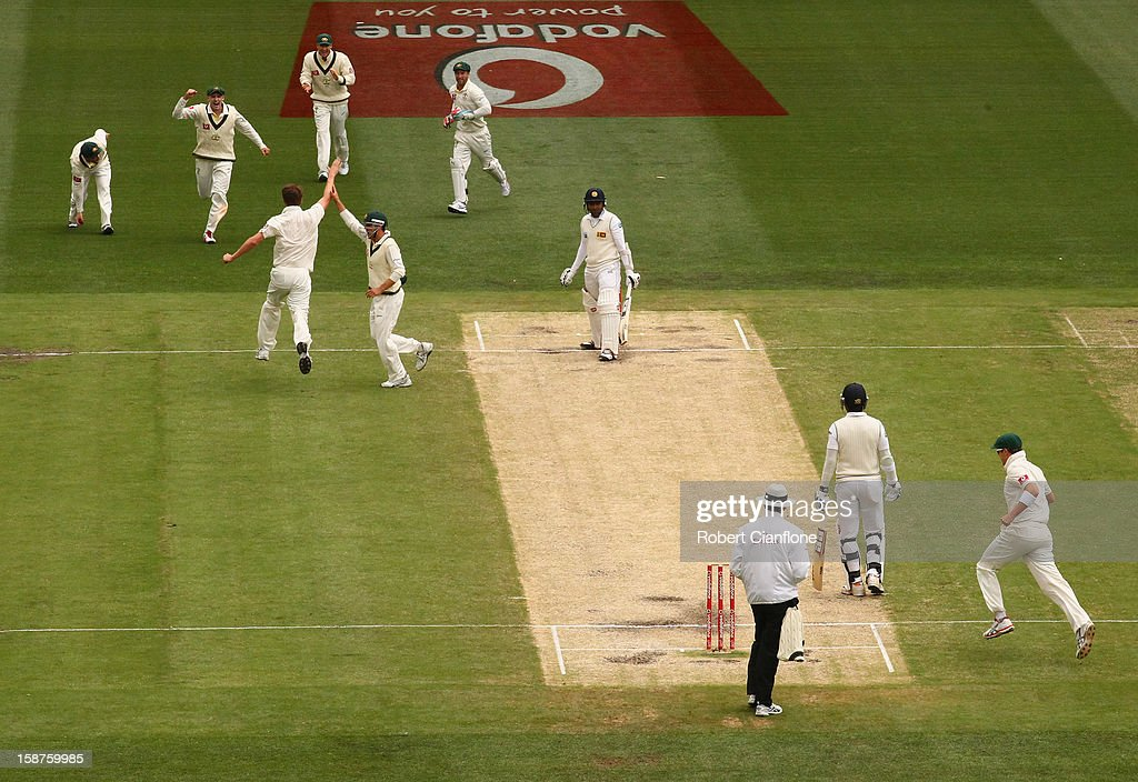 <a gi-track='captionPersonalityLinkClicked' href=/galleries/search?phrase=Jackson+Bird&family=editorial&specificpeople=8665256 ng-click='$event.stopPropagation()'>Jackson Bird</a> of Australia celebrates taking the wicket of <a gi-track='captionPersonalityLinkClicked' href=/galleries/search?phrase=Thilan+Samaraweera&family=editorial&specificpeople=240324 ng-click='$event.stopPropagation()'>Thilan Samaraweera</a> of Sri Lanka during day three of the Second Test match between Australia and Sri Lanka at Melbourne Cricket Ground on December 28, 2012 in Melbourne, Australia.
