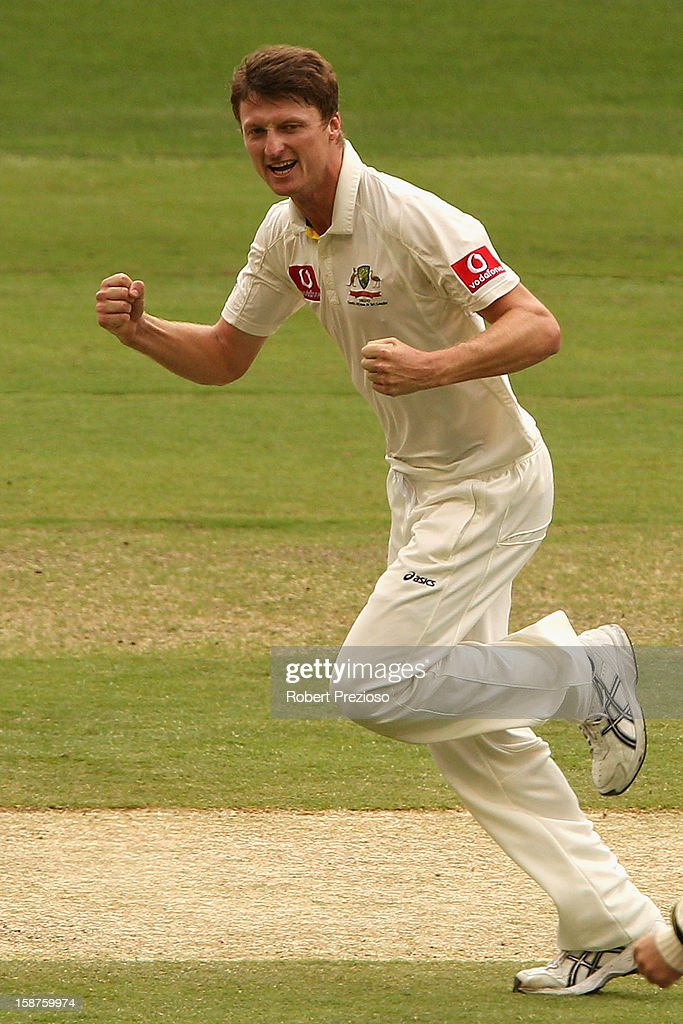 Jackson Bird of Australia celebrates the wicket of Thilan Samaraweera of Sri Lanka during day three of the Second Test match between Australia and Sri Lanka at Melbourne Cricket Ground on December 28, 2012 in Melbourne, Australia.