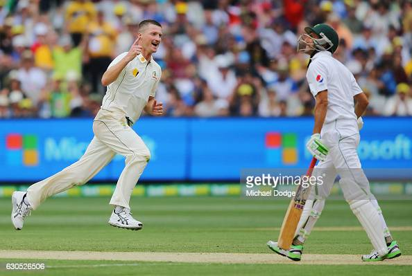 Jackson Bird of Australia celebrates the wicket of Younis Khan of Pakistan bats during day one of the Second Test match between Australia and...