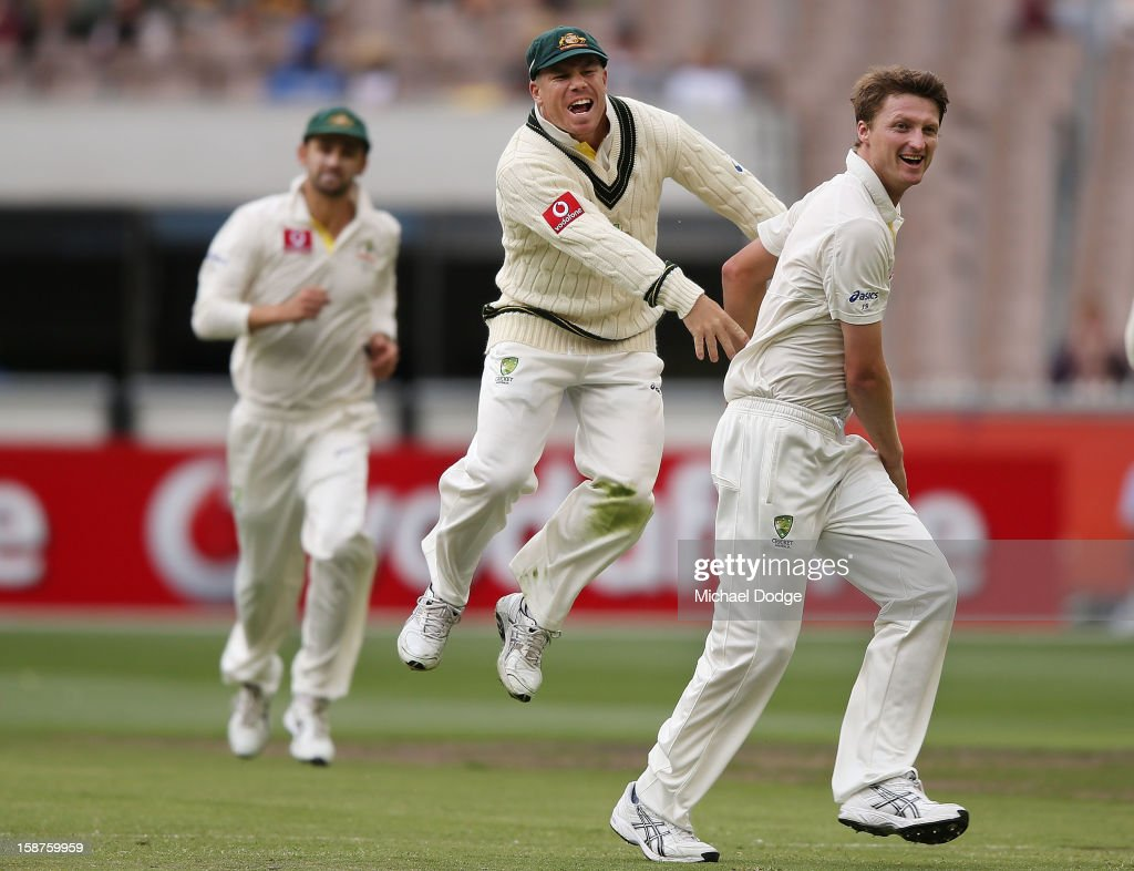 Jackson Bird (R) of Australia celebrates with David Warner his dismissal of Thilan Samaraweera of Sri Lanka during day three of the Second Test match between Australia and Sri Lanka at Melbourne Cricket Ground on December 28, 2012 in Melbourne, Australia.