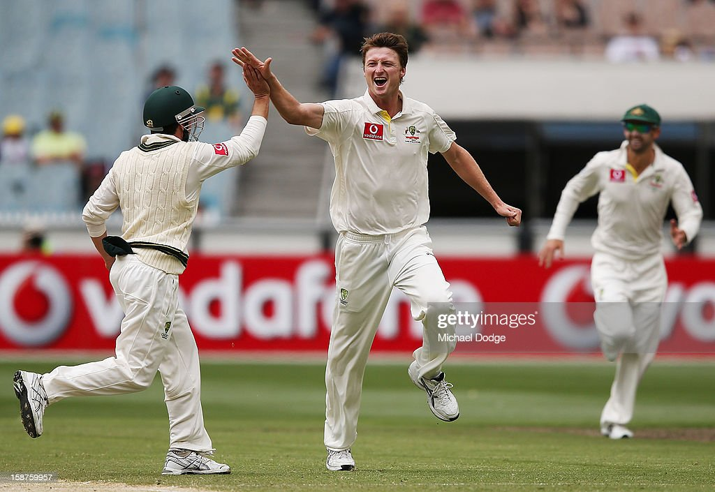 Jackson Bird of Australia (C) celebrates with Ed Cowan his dismissal of Mahela Jayawardene of Sri Lanka during day three of the Second Test match between Australia and Sri Lanka at Melbourne Cricket Ground on December 28, 2012 in Melbourne, Australia.