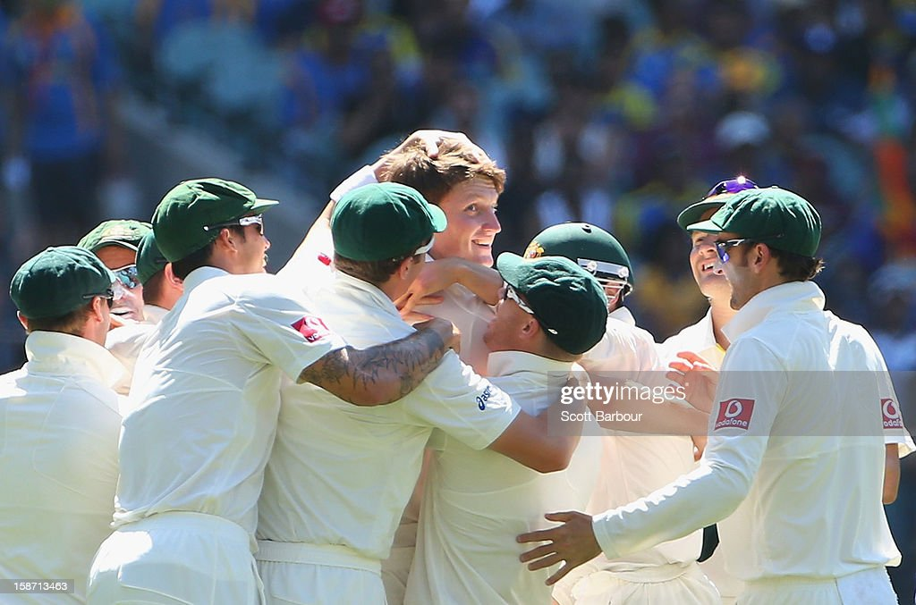 Jackson Bird of Australia celebrates with his team mates after dismissing Dimuth Karunaratne of Sri Lanka during day one of the Second Test match between Australia and Sri Lanka at Melbourne Cricket Ground on December 26, 2012 in Melbourne, Australia.