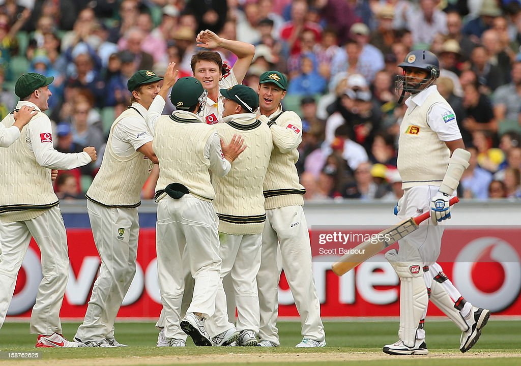 Jackson Bird of Australia celebrates with his team mates after bowling Thilan Samaraweera (R) of Sri Lanka during day three of the Second Test match between Australia and Sri Lanka at Melbourne Cricket Ground on December 28, 2012 in Melbourne, Australia.
