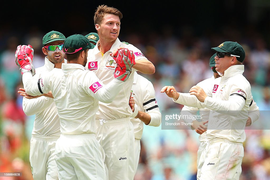 Jackson Bird of Australia celebrates with team mates after claiming the wicket of Tillakaratne Dilshan of Sri Lanka during day one of the Third Test match between Australia and Sri Lanka at the Sydney Cricket Ground on January 3, 2013 in Sydney, Australia.