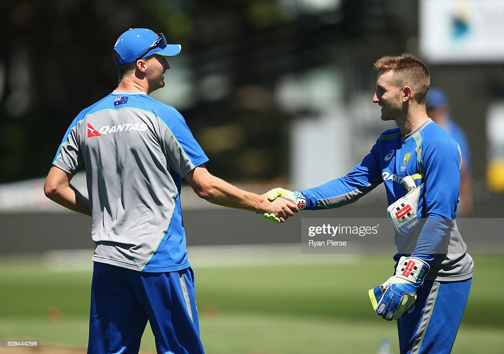<a gi-track='captionPersonalityLinkClicked' href=/galleries/search?phrase=Jackson+Bird&family=editorial&specificpeople=8665256 ng-click='$event.stopPropagation()'>Jackson Bird</a> of Australia is congratulated by <a gi-track='captionPersonalityLinkClicked' href=/galleries/search?phrase=Peter+Nevill&family=editorial&specificpeople=6755208 ng-click='$event.stopPropagation()'>Peter Nevill</a> of Australia after being selected for the 1st Test during an Australian nets session at Basin Reserve on February 11, 2016 in Wellington, New Zealand.