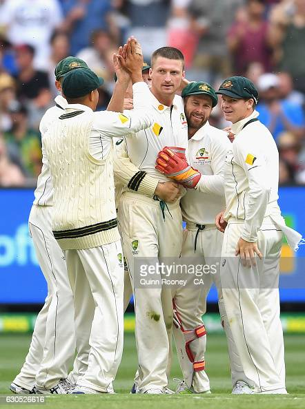 Jackson Bird of Australia is congratulated by team mates after getting the wicket of Younis Khan of Pakistan during day one of the Second Test match...