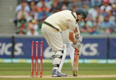 Jackson Bird of Australia is out bowled during day three of the Second Test match between Australia and Sri Lanka at Melbourne Cricket Ground on...