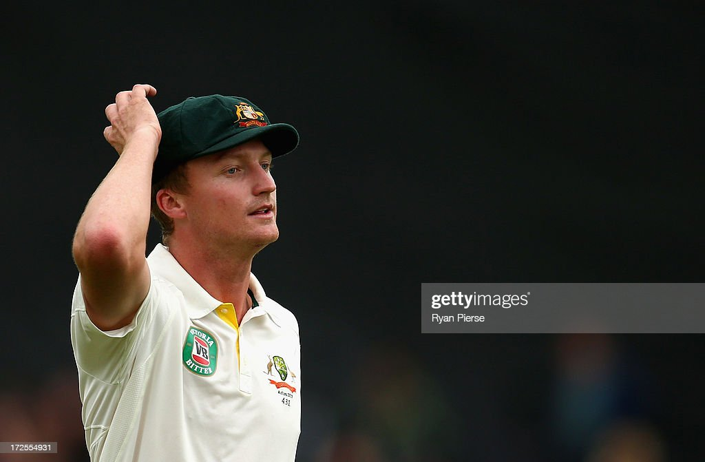 <a gi-track='captionPersonalityLinkClicked' href=/galleries/search?phrase=Jackson+Bird&family=editorial&specificpeople=8665256 ng-click='$event.stopPropagation()'>Jackson Bird</a> of Australia looks on during day two of the Tour Match between Worcestershire and Australia at New Road at New Road on July 3, 2013 in Worcester, England.