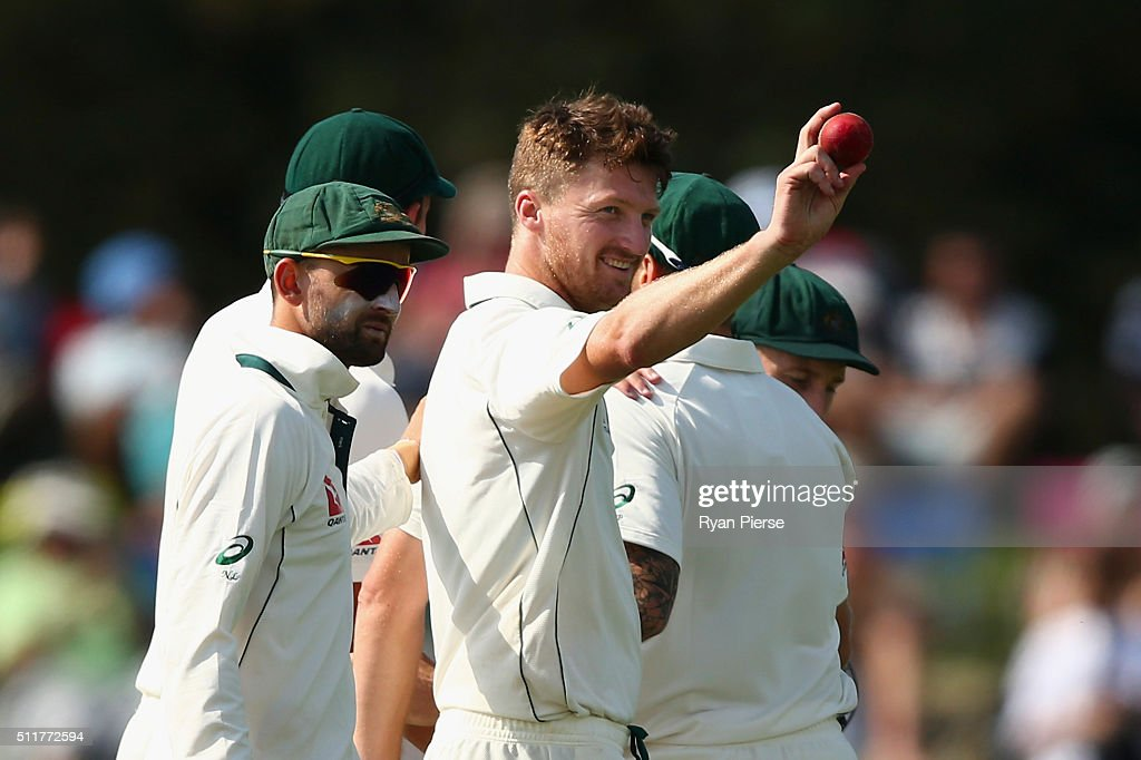 Jackson Bird of Australia raises the ball after finishing with five wickets during day four of the Test match between New Zealand and Australia at...
